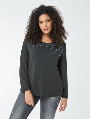 Jersey sweater with embroidery