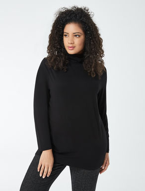 Stretch jersey turtle-neck sweater