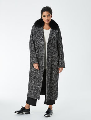 Fox-fur collar long coat
