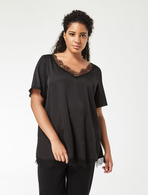 Satin tunic with lace insert