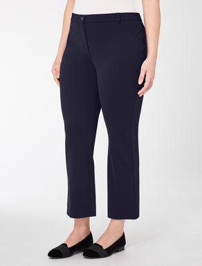 Flared technical jersey trousers