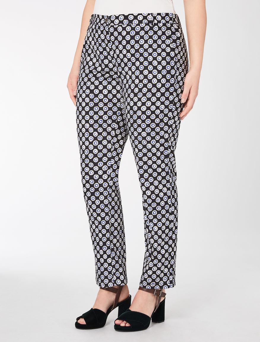 Printed satin slim-fit trousers