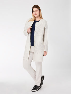 Embroidered stretch wool duster coat