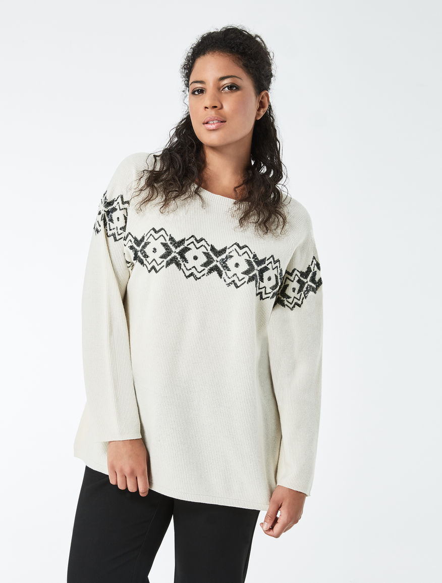 Embroidered wool and cashmere sweater