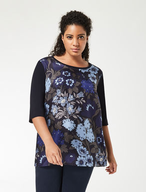 Jersey and printed silk T-shirt