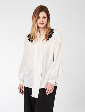 Silk satin tunic with embroidery