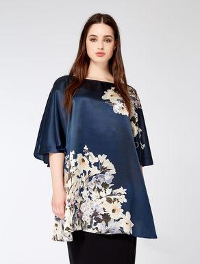 Printed silk satin tunic
