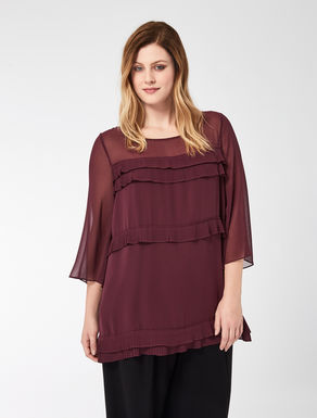 Georgette tunic with pleated flounce