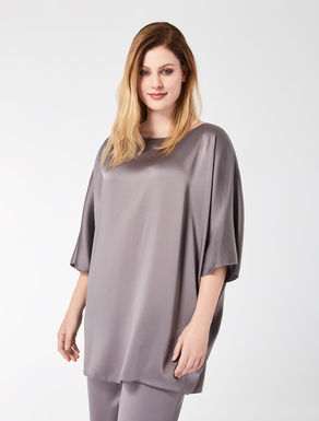 Relaxed-fit shiny frisottino tunic