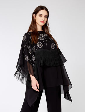 Georgette silk cloak with fringes