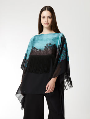 Satin tunic with fringing