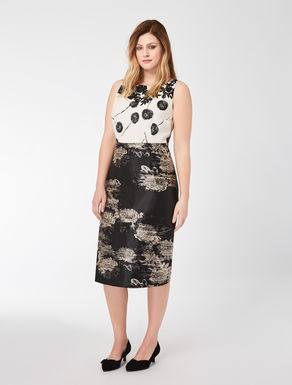 Floral jacquard and cady dress