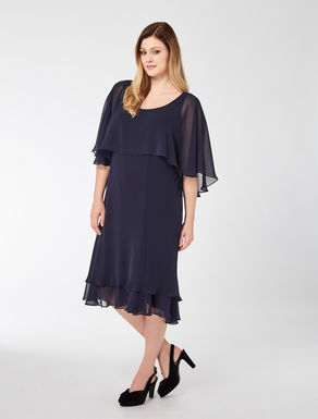 Georgette dress with double flounce