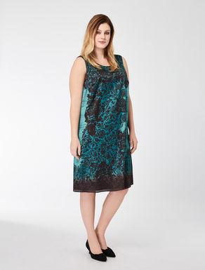 Foliage-print satin dress