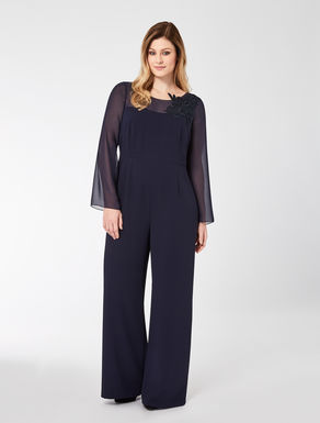 Floaty crêpe jumpsuit with embroidery