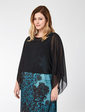 Georgette poncho with embroidery