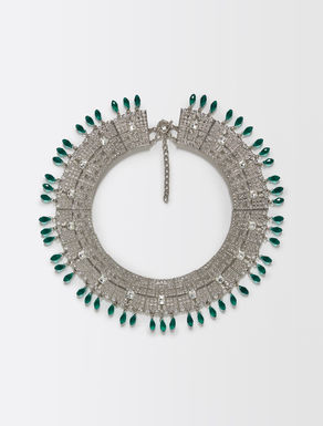 Necklace with rhinestones and stones