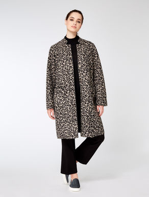 Mixed wool animal print coat