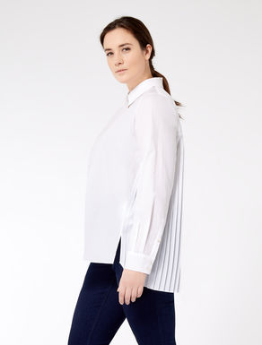 Poplin shirt with pleated insert