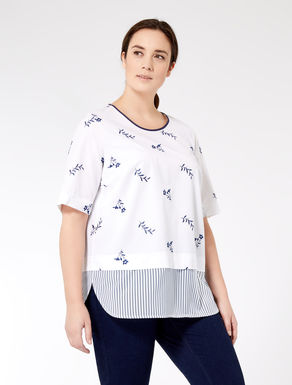 Embroidered poplin tunic
