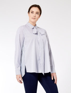 Striped shirt with pleated insert