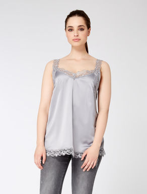 Top in satin and lace