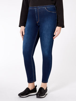 Jean coupe legging en satin denim