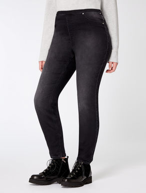 Jean coupe legging en molleton denim