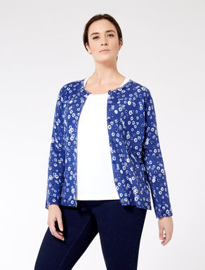 Printed pure wool cardigan