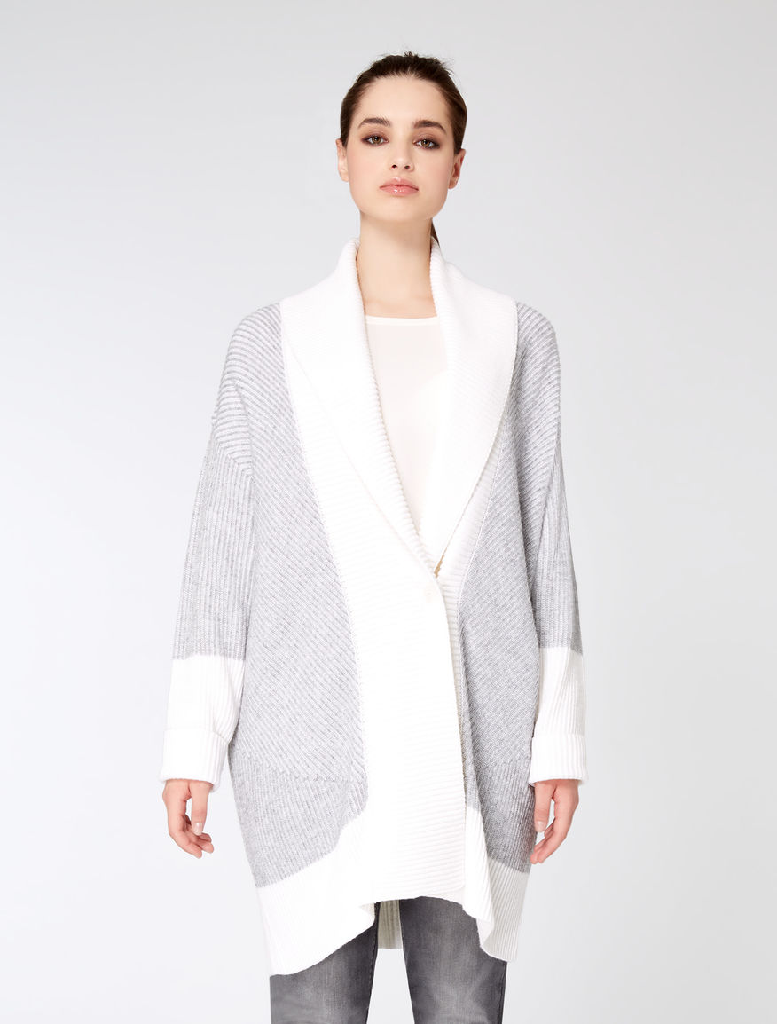Long cashmere blend cardigan