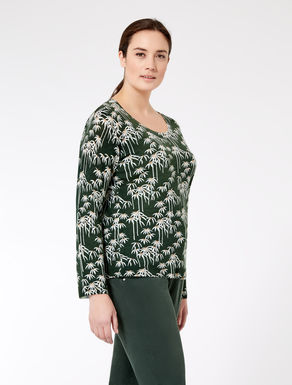 Printed pure wool sweater