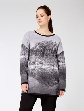 Jumper in jacquard wool blend