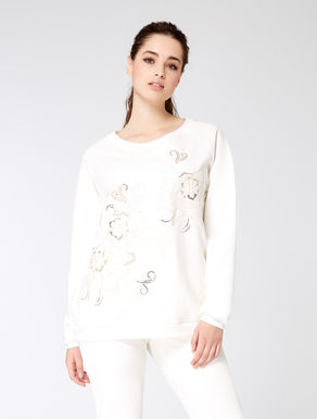 Sweat-shirt en coton stretch brodé
