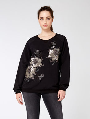 Stretch cotton sweatshirt with embroidery