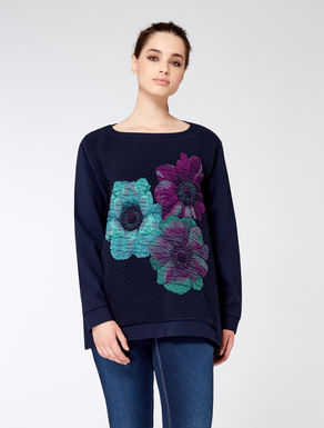 Jersey sweatshirt with jacquard insets
