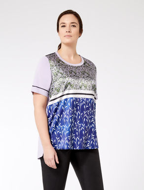 Printed jersey and satin T-shirt
