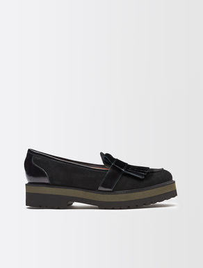Suede and patent loafers
