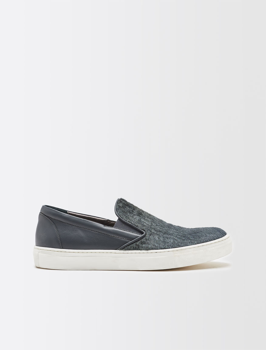 Suede and leather slip-ons