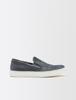 Basket slip on en daim et cuir