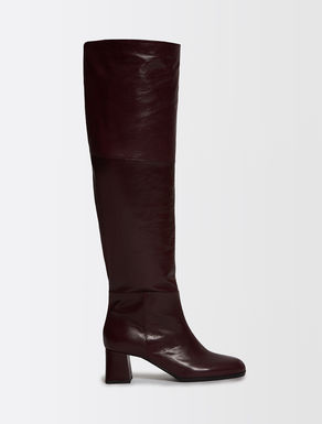 Leather cuissard boots