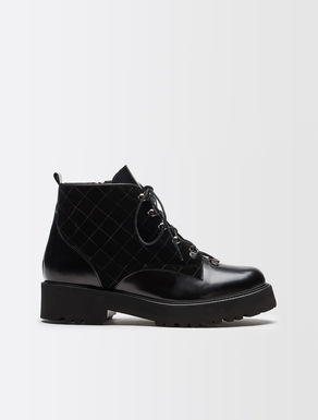 Leather and velvet combat boots