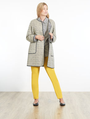 Basketweave-effect duster coat