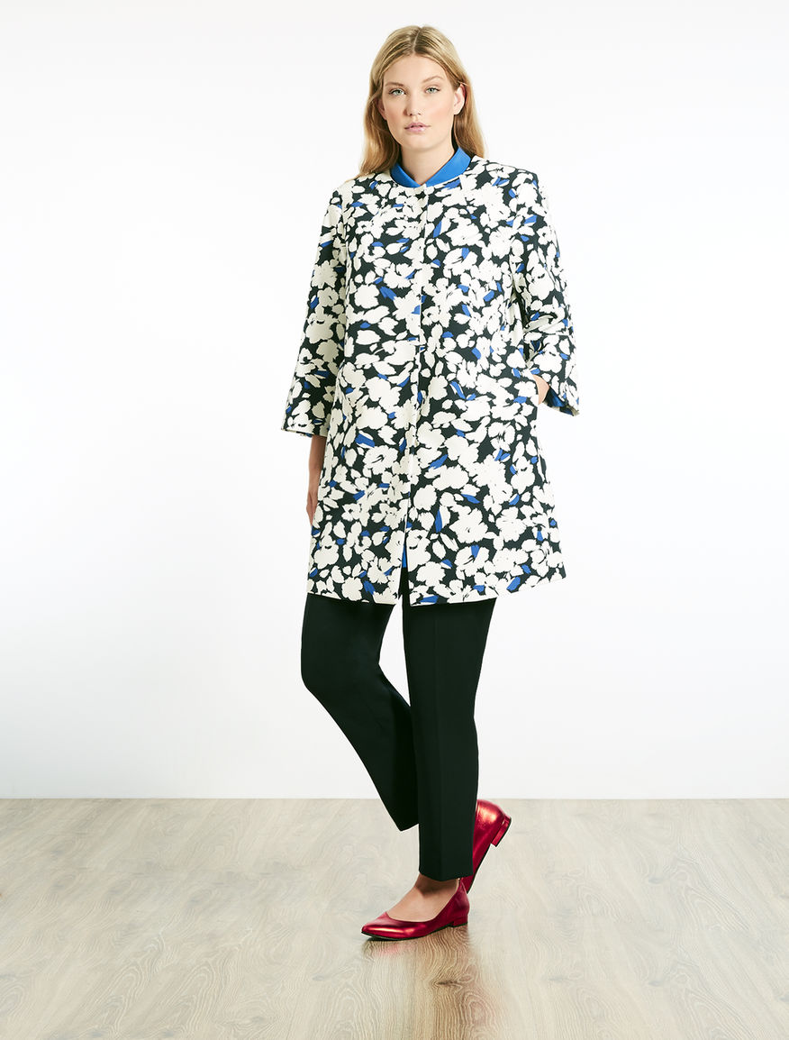 Printed stretch cady duster coat