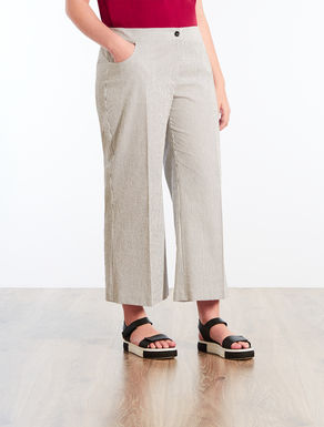 Striped stretch cotton trousers