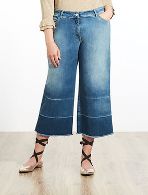 Vaquero cropped de denim stretch