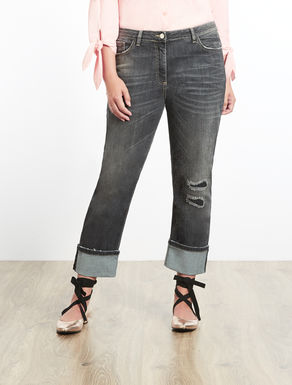 Jeans in denim stretch con risvolto