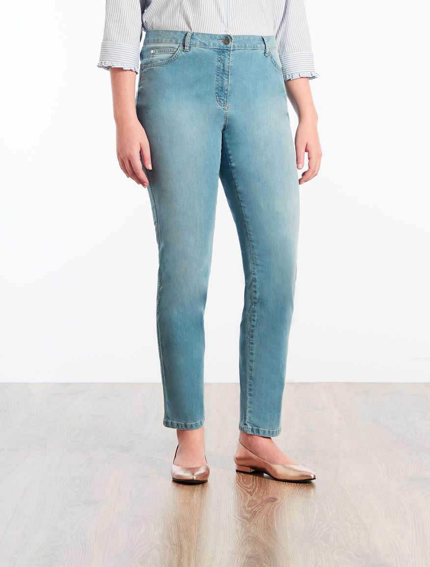 Shaping-fit lightweight denim jeans