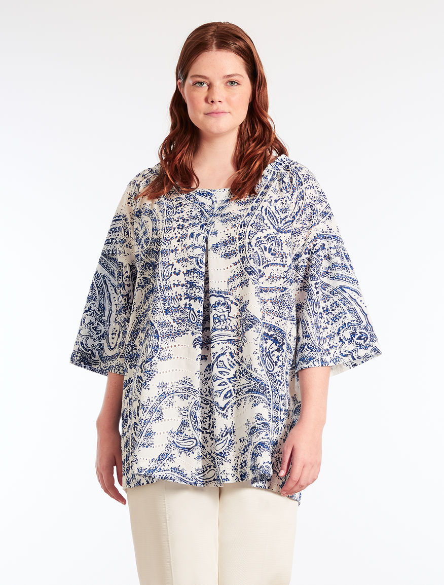 Printed broderie anglaise tunic