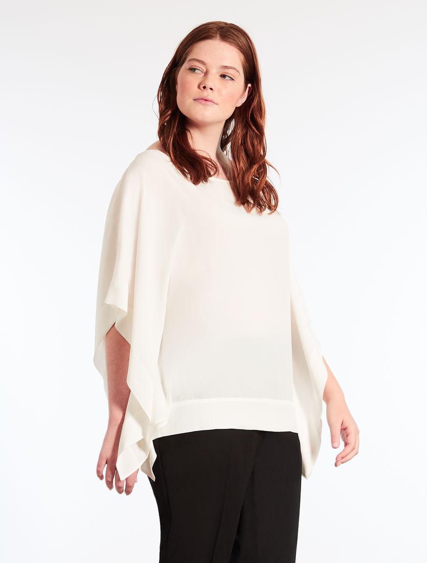 Silk blend crêpe blouse
