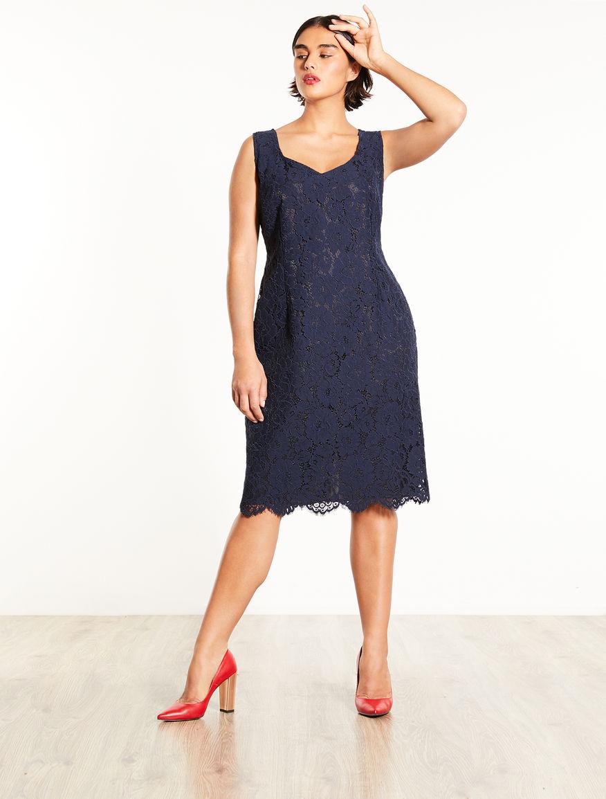 Embellished lace tube dress